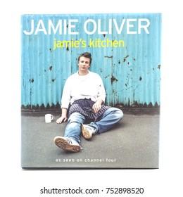 SWINDON, UK - NOVEMBER 11, 2017: Jamie Olivers Jamiies Kitchen Cook Book on a white background