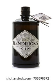 SWINDON, UK - NOVEMBER 20, 2017: 70 cl bottle of Hendricks distilled gin 41.4% alcohol on a white background