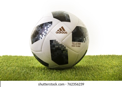 SWINDON, UK - NOVEMBER 25, 2017: Adidas Telstar Top Glider World Cup 2018 Football, The Official Matchball for the 2018 Russia World Cup.