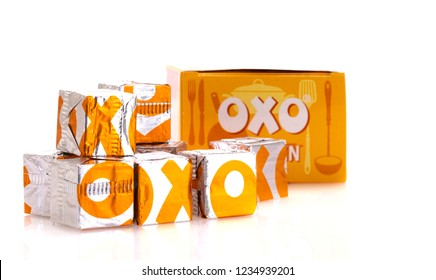 SWINDON, UK - NOVEMBER20, 2018: Chicken OXO cubes, OXO is one of the most popular brands of gravy. OXO is owned by Premier Foods.