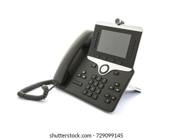 SWINDON, UK - OCTOBER 1, 2017: Modern IP video telephone on a white background