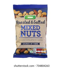 SWINDON, UK - OCTOBER 1, 2017: Packet of ASDA Roasted and Salted Mixed Nuts on a white background