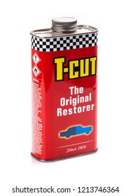 SWINDON, UK - OCTOBER 14, 2018: Can of T-Cut the original paint restorer on a white background.