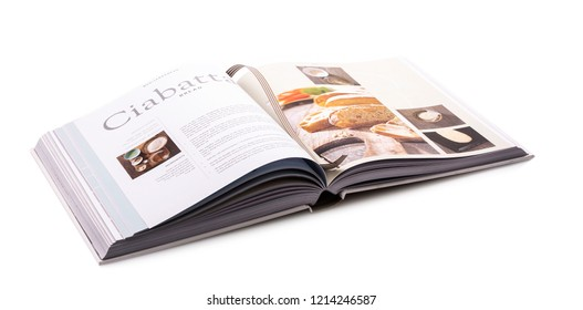 SWINDON, UK - OCTOBER 14, 2018:  Ciabatta Bread Recipe Book on a white background