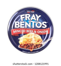 SWINDON, UK - OCTOBER 21, 2018: Fray Bentos Mince Beef and Onion Pie on a white background