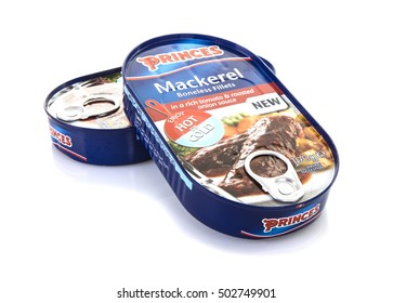SWINDON, UK - OCTOBER 23, 2016:Tin of Princes Mackerel fillets in a rich Tomato and Roasted Onion Sauce on a white background