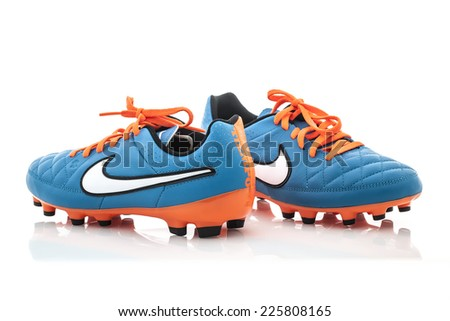 4ec18e9cd SWINDON, UK - OCTOBER 25, 2014: A Pair of Nike Football shoes on a White  Background - Image