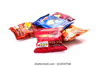 SWINDON, UK - OCTOBER 27 2018: Packets of Snackrite potato crisps on a white background