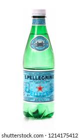 SWINDON, UK - OCTOBER 28, 2018: 500 ml Bottle of San Pellegrino Mineral Water on awhite background