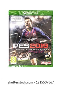 SWINDON, UK - OCTOBER 28, 2018: PES 2019 Pro Evolution Soccer game for the XBOX ONE on a white background