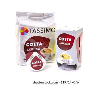 SWINDON, UK - OCTOBER 7, 2017: Tassimo Americano Coffee pods on a white background