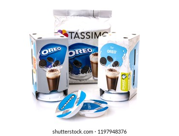 SWINDON, UK - OCTOBER 8, 2018: Packs of Tassimo Oreo Hot Chocolate drink pods on a white background