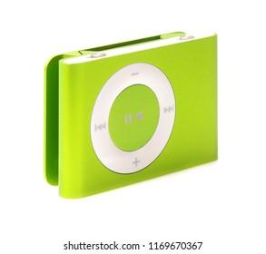 SWINDON, UK - SEPTEMBER 1, 2018: Green Apple iPod Shuffle on a white background