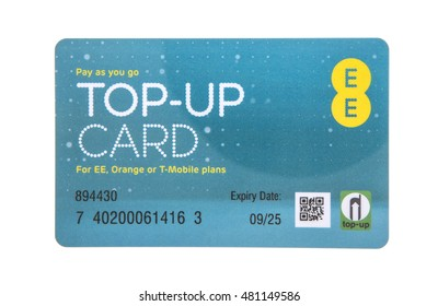 SWINDON, UK - SEPTEMBER 10, 2016: EE Pay as you go top-up card for EE, Orange or T-Mobile Services