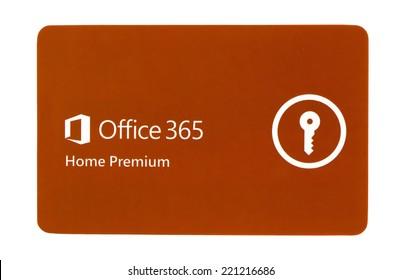 SWINDON, UK - SEPTEMBER 4, 2014: Microsoft Office 365 Home Premium on a white background