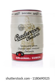 SWINDON, UK - SEPTEMBER 9, 2018: Budweiser Budvar keg of lager on a white background