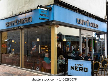 Swindon, United Kingdom - May 04 2019:   The Entrance to Caffe Nero coffee shop on Bridge Street
