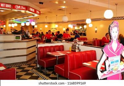 Swindon, Wiltshire, UK Aug 2018. Ed's Diner American style  restaurant.