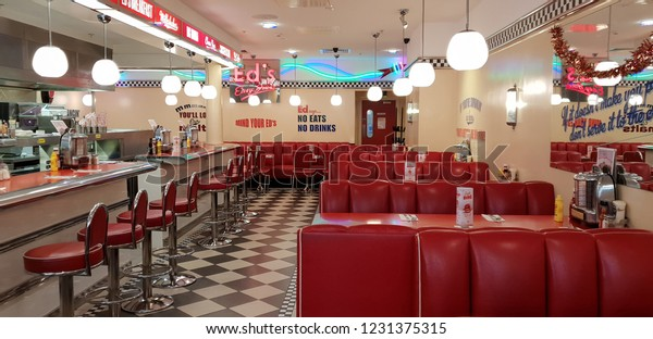 Swindon, Wiltshire, UK Dec 2018. American 1950's style Ed's diner with red decor.