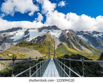 The swing bridge at Hooker Valley Track in Mt cook national park.