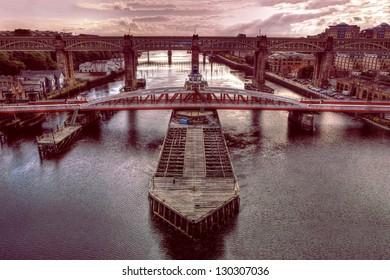Swing Bridge & Red Hue Bridge at Newcastle upon Tyne taken from Gateshead