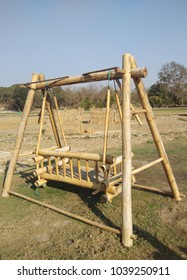 Swing chairs from bamboo set on the ground.