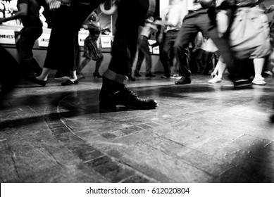 swing dancers in black and white and vintage style