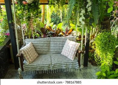Swing in the garden, sitting corner on the holiday.