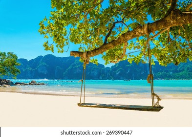 Swing hang from coconut tree over beach, Phi Phi Island, Thailand