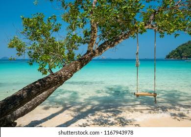swing hang on big tree over beach sea background, Nyaung Oo Phee, Myanmar