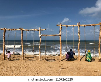 Swing just in front of famous Warung Pak Nong in Kuala Terengganu...  With the wave and sea breeze... a great escape from busy town...