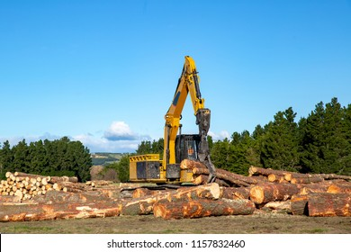 A swing loader is one of the heavy machines used to load and stack logs at a logging site