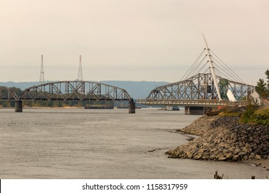 Swing Steel Bridge for trains at Port of Vancouver Washington State USA