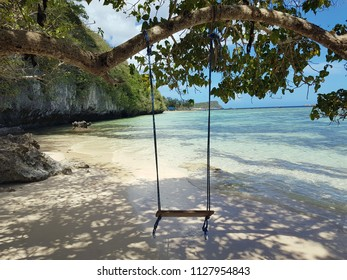 A swing tried to a tree branch on a tiny, hidden beach.