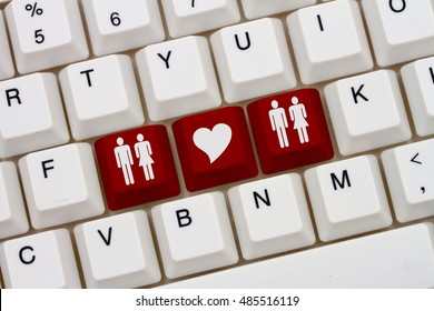 Swingers Internet Dating Sites, A close-up of a keyboard with red highlighted symbol of man and women couples and heart