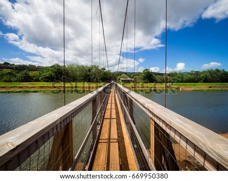 Swinging Bridge Hanapepe Kauai Hawaii Usa Stock Photo Edit