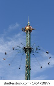 Swinging fair ride on Tivoli amusement park at Copenhagen on Denmark