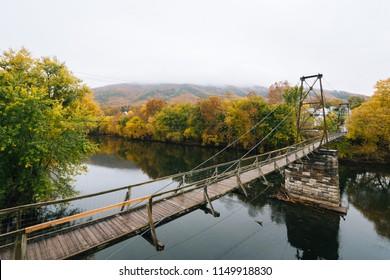 Swinging pedestrian bridge over the James River in Buchanan, Virginia