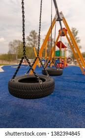 Swings att playground, Filsbäck camping, Lidköping Sweden.