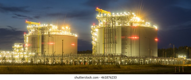 SWINOUJCIE,POLAND-JULY 2015:The LNG terminal at night