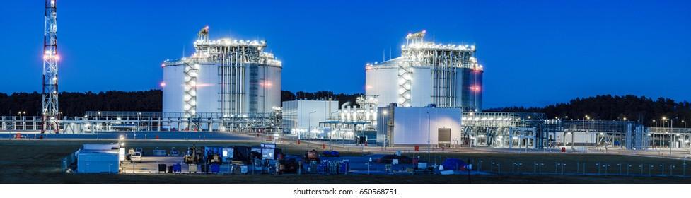 Swinoujscie ,Poland -December 2017:Panoramic image of the LNG Terminal in Swinoujscie in Poland