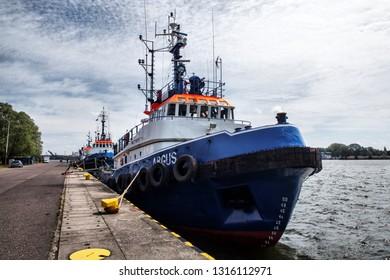 SWINOUJSCIE, POLAND-JUNI 26, 2018: A sea rescue ship under the Polish flag.