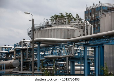 SWINOUJSCIE, POLAND-MAY 26, 2018: Fragment of the gas terminal area in Swinoujscie. LNG terminal is a new energy infrastructure in Pomerania.