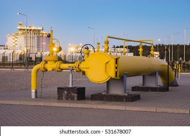 Swinoujscie,Poland-December 2015:pipe line valves, LNG terminal