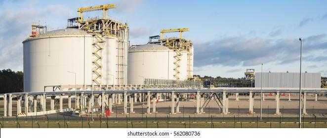 Swinoujscie,Poland-December 2016:The LNG terminal in Swinoujscie,Poland