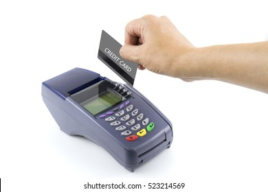 Swiping Credit Card white background
