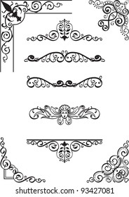 Swirl corner and divide set on white
