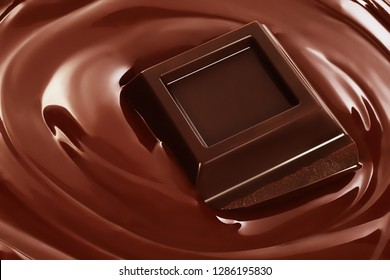 Swirl of melted chocolate with pieces of chocolate bar. Dark chocolate packaging design, advertising poster, template.