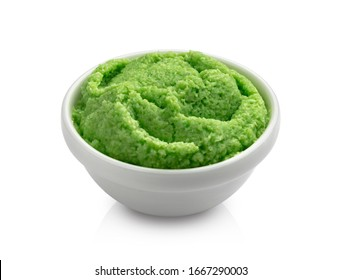 Swirl of wasabi sauce isolated on white background with clipping path