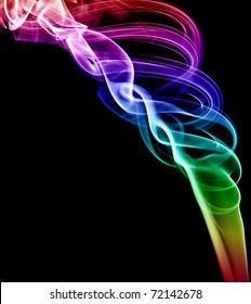 A  swirled spiral of colored smoke on a black background